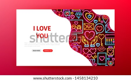 Love Neon Landing Page. Vector Illustration of Romance Promotion.
