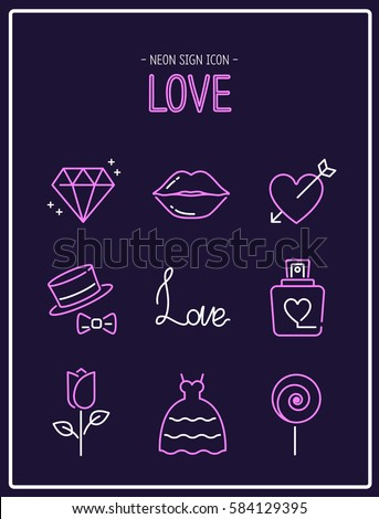 love neon sign icon