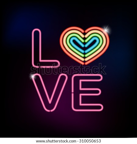 love neon sign with rainbow