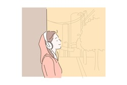 Love of music concept. Happy young woman listening to music on headphones. Girl musician listens to audio tracks or radio in her smartphone. Simple flat vector.
