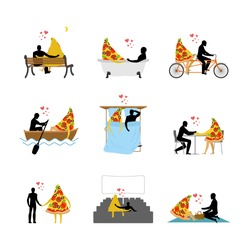 love of pizza set. Man and slice of pizza in movie theater. Lovers in bath. Romantic rendezvous with food. Boating feed. Joint walk. Cycling tandem. Breakfast in cafe. Picnic in park. life gourmet