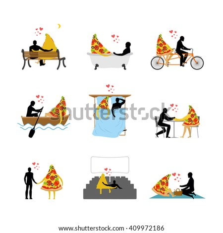 love of pizza set man and