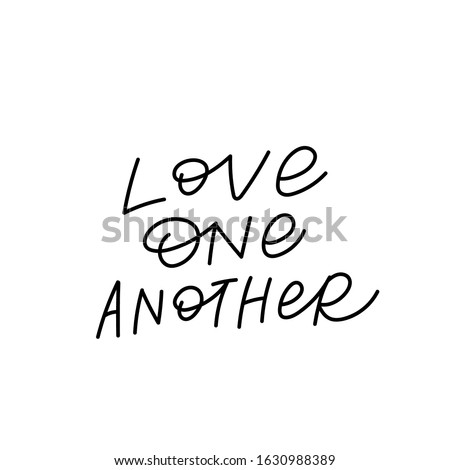 Love one another quote lettering. Calligraphy inspiration graphic design typography element. Hand written postcard. Cute simple black vector sign Stock foto ©