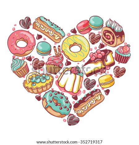 love pastry sweets vector