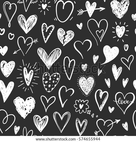 love pattern with hand drawn