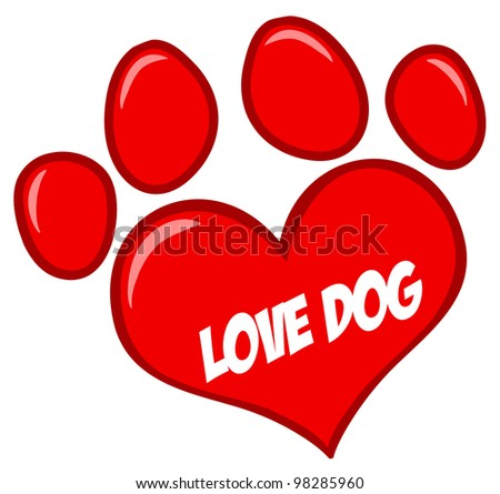 Love Paw Print With Text. Vector Illustration