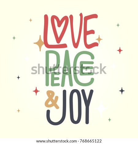 Love, peace, joy artwork with stars
