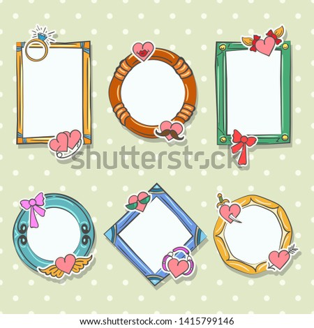 Love photo frames. Scrapbookers album photoframe set, vector scrapbooking photograph collage pictures for valentines day and family love cards