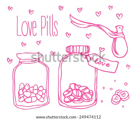 love pills  bottle jar with