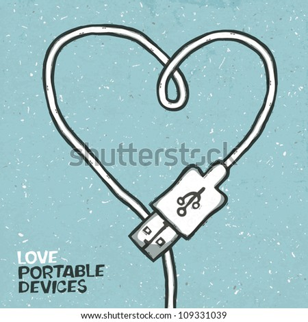 Love portable devices, concept illustration. Vector, EPS10