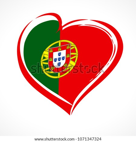 love portugal  heart emblem in