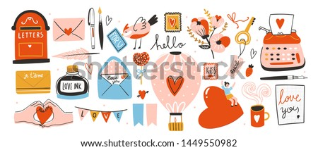 Love post office. Many various romantic objects. Saint Valentine's day big vector set. Colored trendy illustration. Flat design. All elements are isolated stock photo