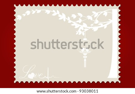 Love postcard with birds and tree. Vector Illustration.