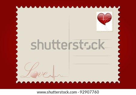 Love postcard with heart. Vector Illustration.