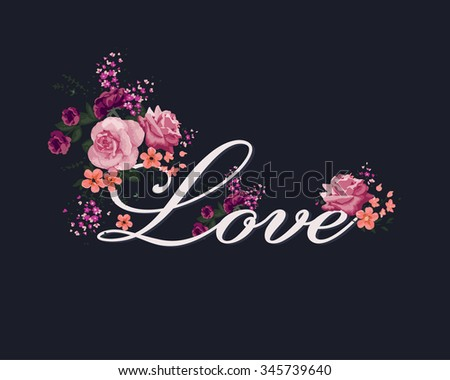 love print with roses and