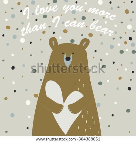 love printable with cute bear