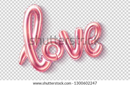 Love realistic rubber balloon on transparent background for happy valentines day, women day holiday, dating invitation, wedding or marriage greeting card design. Vector romantic flying ballon