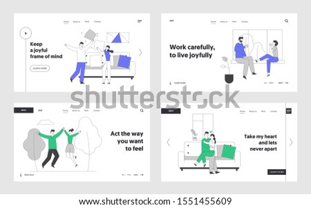 Love Relations, Togetherness Website Landing Page Set. Happy Loving Couple Spend Time Together Fight on Pillows Walking Drinking Tea Hugging Web Page Banner. Cartoon Flat Vector Illustration, Line Art