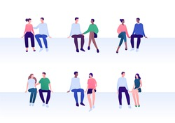 Love relationship, lgbt romantic date and friendship concept. Vector flat person illustration set. Multiethnic character. Female and male couples sitting. Design element for banner, valentine day card