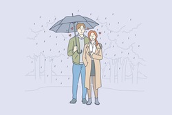 Love, relationship, romance concept. Young loving couple boyfriend and girfriend man and woman cartoon characters standing embraced with umbrella in rain vector. Romantic date in park illustration.