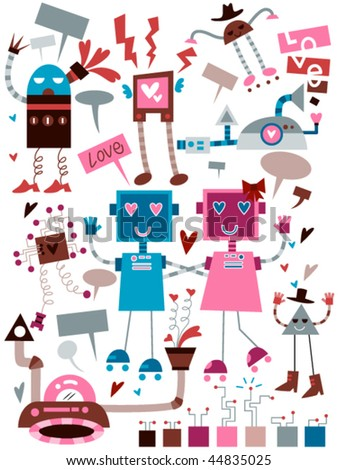 Love Robots Doodles - Vector