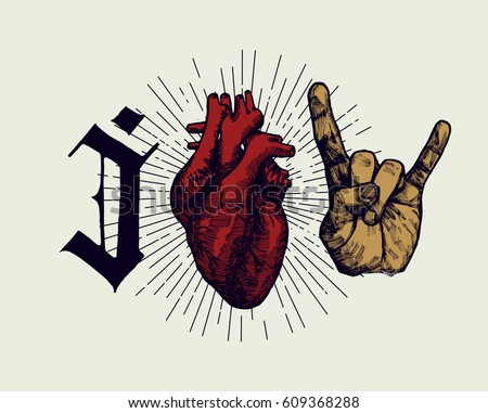 love rock'n'roll print - medieval style real heart and hand sign of horns grunge print