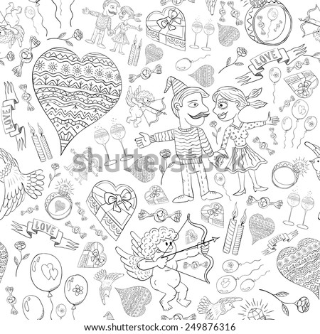 Love Romantic seamless pattern of funny doodles in black and white. Lovers, dove, heart, glasses, diamond ring, candy, Cupid - in an infinite ornament of love.