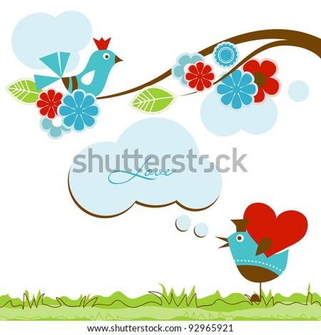 Love scene with cute birds - stock vector