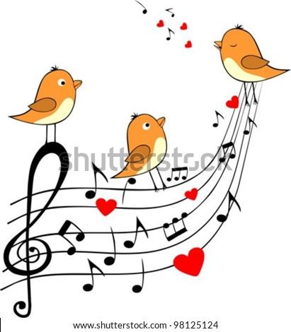 love score with three orange birds, vector illustration