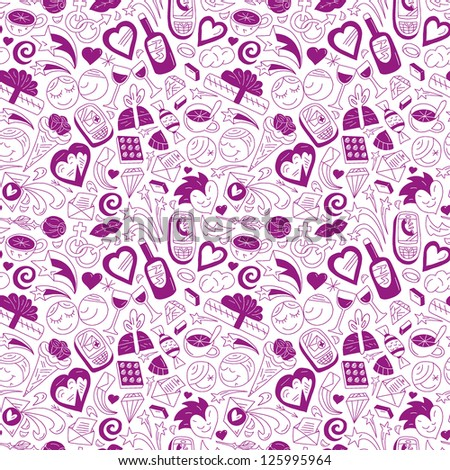 Love - seamless pattern - stock vector