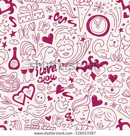 love - seamless pattern - stock vector