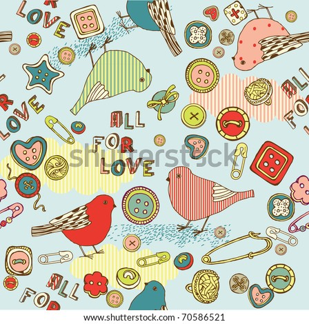 love seamless pattern with birds and buttons