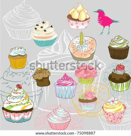 love seamless pattern with birds and cupcake