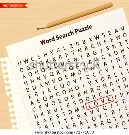 Love Search Puzzle - stock vector