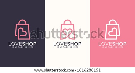 Love Shop Logo designs Template, bag combined with heart concept.