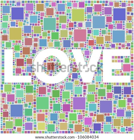 Love sign in a mosaic of harlequin squares