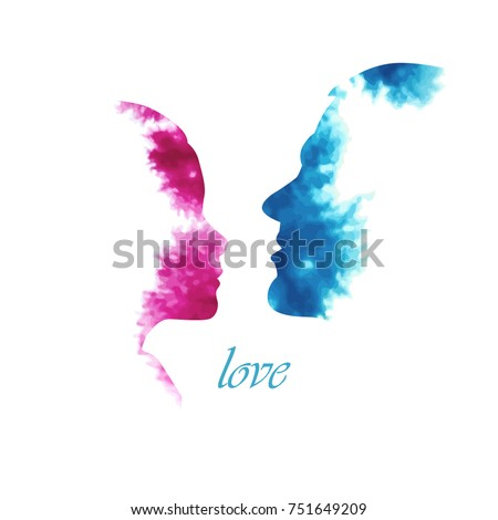 Love silhouette of faces profile of lovers. Vector