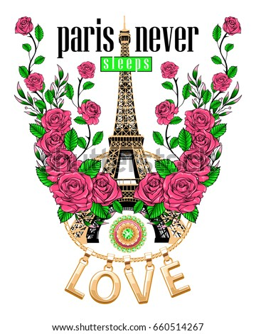 love slogan and eiffel tower...