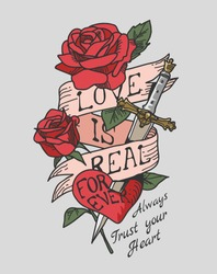 love slogan on pink ribbon and roses illustration