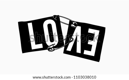 love slogan on ripped paper illustration