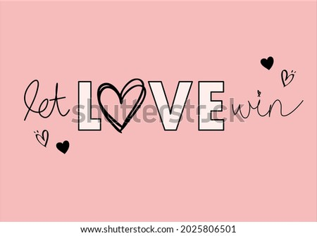 love slogan text design with