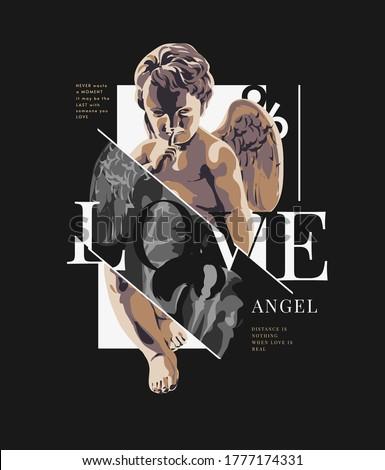 love slogan with antique statue