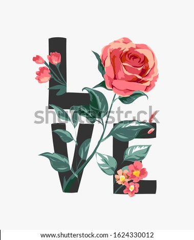 love slogan with red rose