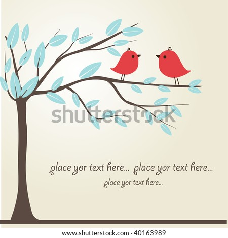 Love song. Two cute red birds sitting on the tree branch with blue leaves. Vector illustration in cartoon style. Can be used for greeting, wedding or holiday card, poster, web design.