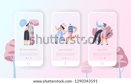 Love Story Couple Character Mobile App Onboard Screen Set. Man Hug Woman on Date. Cute People Happy Wedding Romance Concept for Website or Web Page. Vector Flat Cartoon Illustration