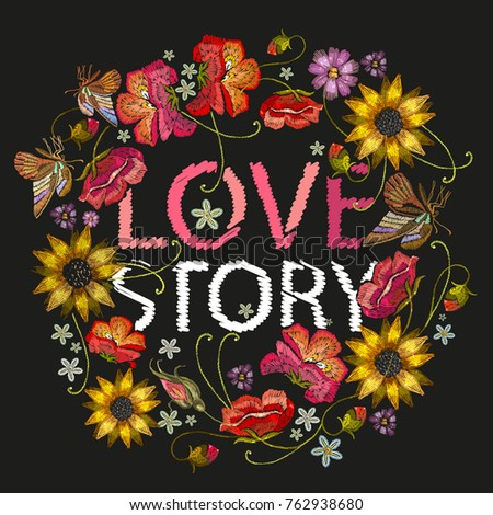 love story slogan embroidery