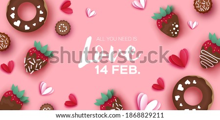 Love Strawberry and Chocolate, Donut. Valentines Day Greeting Card. Hearts paper cut style. Sweet dessert, choco candy. Happy Romantic holidays. Space for text. February 14. Pink.