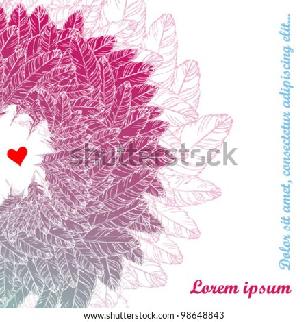 Love Style Background with hand drawn feathers
