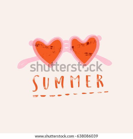 Love summer poster with heart sunglasses in vector.