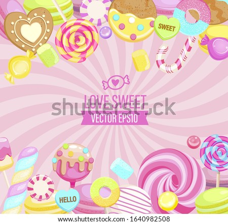 Love Sweet shop logo, with many sweets and place for text. Sunburst background with candy,macaroon,bonbon,lollypops,marshmallow,jellybean,candy cane, biscuit. Template for banner, menu,flyers. Vector.